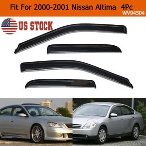 For 2000 2001 Nissan Altima Dark Smoke Window Visors Sun Rain Guards Vent Shade