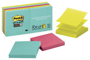 Post it Super Sticky Pop up Notes 3 X 3 Inches Miami Colors 10 Pads With 90