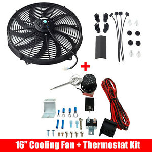 Universal 16 Electric Radiator Cooling Fan W Thermostat Control Relay Wire Kit