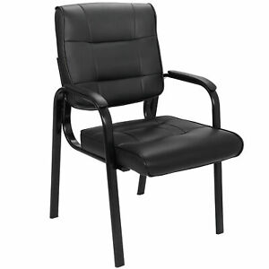 Classic Leather Guest Reception Side Chairs Waiting Room Office Desk Black
