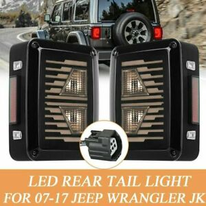 Rear Led Tail Lights Smoke Lens For Jeep Wrangler 2007 2017 Jk Reverse Brake