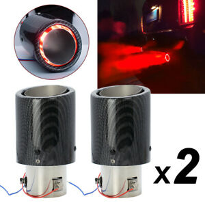 2x Universal Red Luminous Led Exhaust Muffler Tip Tail Pipe For 35 63mm Inlet Us