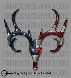 White Tail Deer Buck Skull American Flag Sticker Decal