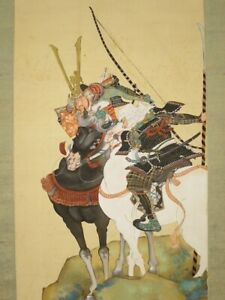 Japanese Painting Hanging Scroll Horse Antique Samurai Old Art From Japan 464p