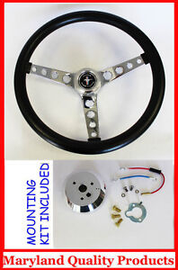 1965 1969 Ford Mustang Gt Retro Steering Wheel Black 14 1 2 High Rise Cap