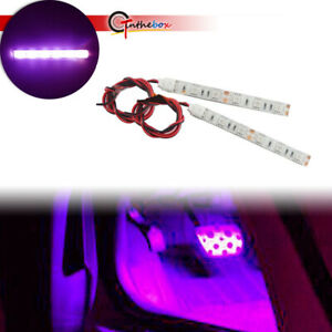 2pcs 20inch Car Interior Purple Led Strip Lights Foot Atmosphere Light