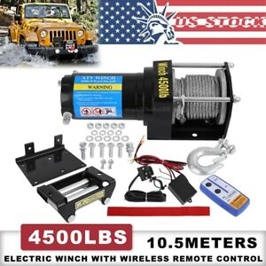 12v Electric Winch 4500lb Atv Utv Waterproof Boat Steel Cable Kit Remote Control