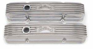 Edelbrock 4144 1959 86 Sb Chevy Classic Series Polished Valve Covers W Oil Hole