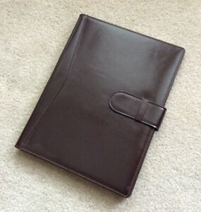 Genuine Leather Suede Lined Portfolio Note Pad Folio Holder Brown Cover Folder