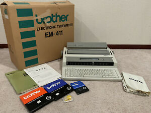 Brother Em 411 Electronic Typewriter W Original Box Manual Cover Accessories