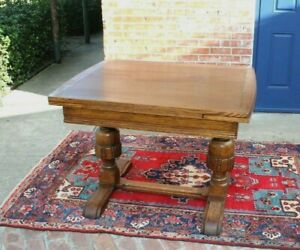 English Antique Oak Art Deco Draw Leaf Kitchen Table