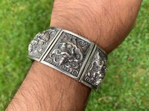 Antique Anglo Indian Colonial Silver Swami Bracelet Or Kada 1880 Exc Condition