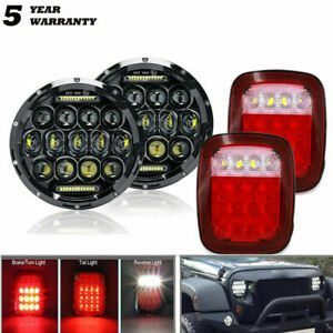 7 Drl Led Headlights Tail Lights Rear Brake Lamps For Jeep Wrangler Tj Cj 76 06