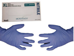 200 Count Blue Nitrile Gloves By Microtouch Non Latex Extra Large