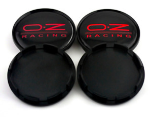 Oz Racing 4 X 63mm Black Red Emblem Logo Alloy Wheel Rim Center Caps Hubs M595