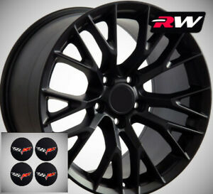 Satin Black C7 Z06 Style Wheels 18x8 5 19x10 Set Fits 2005 2013 C6 Corvette
