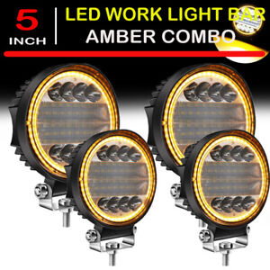 4x 5inch Led Work Light Pods Round Amber Spot Combo Light For Jeep Offroad Suv