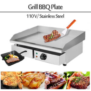 22 Top Commercial Electric Countertop Grill Heating Flat Griddle Bbq 1500w 110v