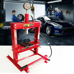 10 Ton Hydraulic Shop Press Benchtop With Plates H Frame Jack Stand With Gauge