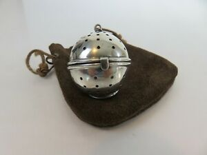Classic American Art Deco Sterling Silver Tea Ball Infuser Leather Pouch C1900