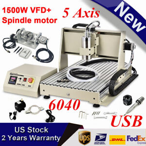 5 Axis Usb 6040 1 5kw Cnc Router Engraving Milling Drill 3d Woodworking Machine