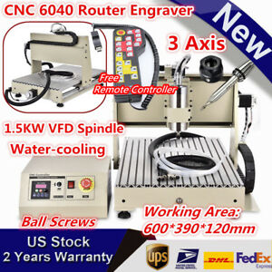 3 Axis Cnc 6040 Router Wood Carving 3d Engraver Drill Machine Cutter 1 5kw Rc