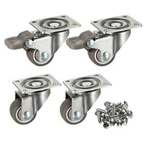 Bayite 4 Pack 1 Low Profile Casters Wheels Soft Rubber Swivel Caster With 360
