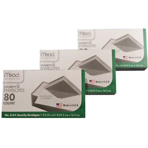 Mead 8 6 3 4 Security Envelopes 80 Count Each 3 Pack