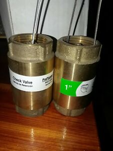 Pair Of 1 Inch Npt Pipe Threaded Brass In line Spring Check Valve Proplumber