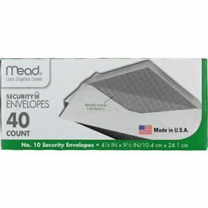 Mead Security Envelopes 40 Ct 10 White 4 1 8 X 9 1 2 Privacy Lined