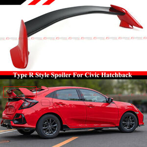 For 16 2021 Civic Fk4 Fk7 5dr Hatchback 2 Tone Red Blk Type R Style Spoiler Wing