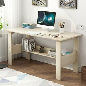 Wood Computer Desk Writing Pc Laptop Table Workstation Study Shelf Home Office H