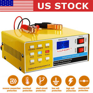 Automatic Smart Pulse Car Battery Charger Repair Starter Motorcycle 12v 24v 10a
