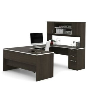 Ridgeley U shaped Desk With Lateral File And Bookcase In Dark Chocolate