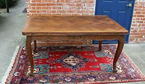 French Antique Oak Wood Draw Leaf Louis Xv Dining Table