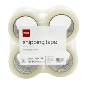 Office Depot Brand Shipping Tape 1 89 X 109 4 Yd Clear Pack Of 8 Rolls