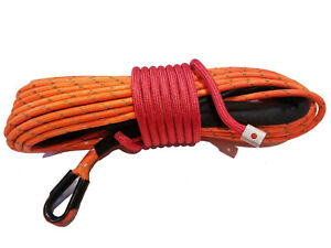 Synthetic Winch Rope Line Cable 3 8 X 100 30 000 Lb Capacity Orange
