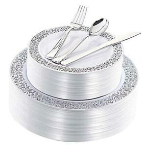 180 Pieces Silver Plastic Plates With Disposable Silverware Lace Design Silver