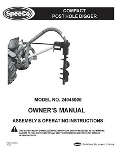 Speedco Speeco Post Hole Digger Operator Maintenance Manual 24045000