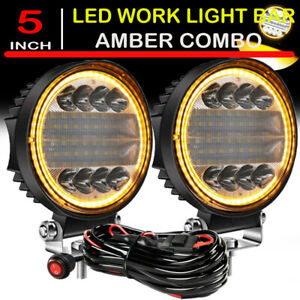 5 Inch Led Work Light Spot Flood Driving Fog Amber Lamp Suv Atv Offroad Wiring