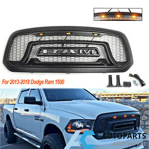 Front Bumper Grille For 2013 2018 Dodge Ram 1500 Rebel Style W Emblem Black