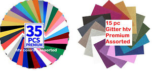 Heat Transfer Vinyl 35 Sheet Colors 15 Sheet Glitter T shirts 12 X 10 Pack