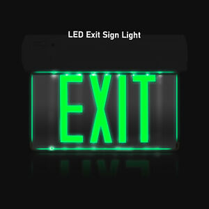 Glow In The Dark Emergency Mirror Panel Exit Sign Wall Light Led Green Letters