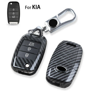 Carbon Fiber Car Key Case Cover For Kia Forte Optima Sorento Sedona Remote Fob