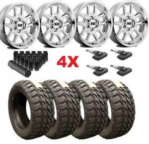 20 Chrome Wheels Rims Tires 33 12 50 20 Wrangler Gladiator Fuel Mud M t