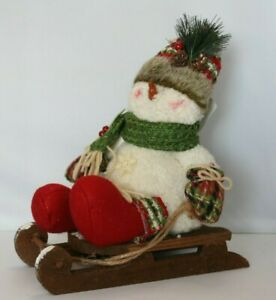 Country Snowman On Sleigh Wooden Sled Poseable Arms Snowflakes 11 H X 10 L Used