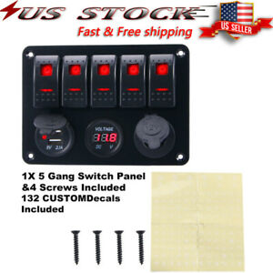 5 Gang Led Rocker Switch Panel Breaker Circuit For Rv Car Marine Boat Accessory