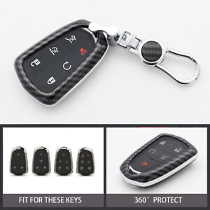 Carbon Car Remote Key Fob Cover Keychain Case For Cadillac Escalade 2015 2018