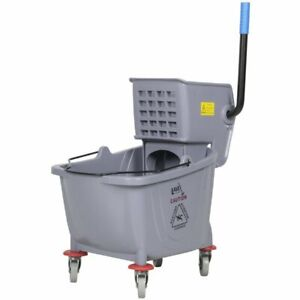 Commercial Wet Mop Bucket Wringer Combo 35 Quart Gray Janitorial Hotel Easy Us