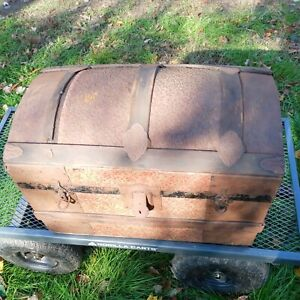 Antique 1800 S Dome Top Steamer Trunk Wood Pressed Tin Embossed